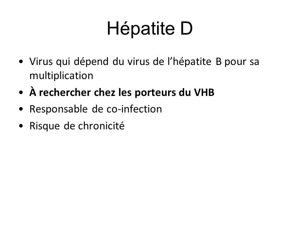 Hépatite D Virus qui dépend du virus de l'hépatite B pour sa multiplication À rechercher chez les porteurs du VHB Responsable de co-infection Risque d