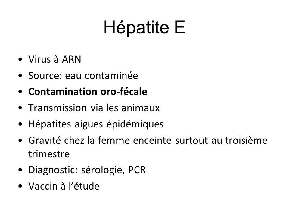 Hépatite E Virus à ARN Source: eau contaminée Contamination oro-fécale Transmission via les animaux Hépatites aigues épidémiques Gravité chez la femme