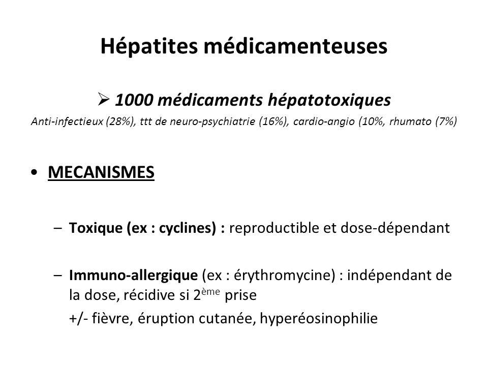 Hépatites médicamenteuses  1000 médicaments hépatotoxiques Anti-infectieux (28%), ttt de neuro-psychiatrie (16%), cardio-angio (10%, rhumato (7%) MEC