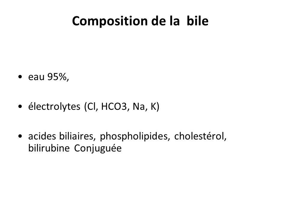 Composition de la bile eau 95%, électrolytes (Cl, HCO3, Na, K) acides biliaires, phospholipides, cholestérol, bilirubine Conjuguée