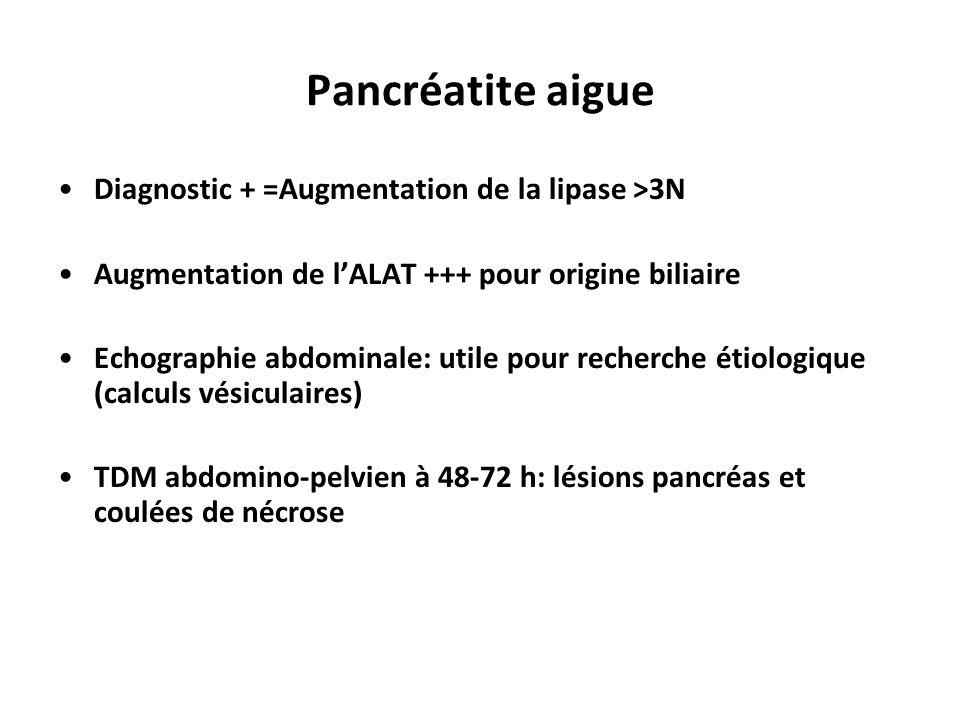 Diagnostic + =Augmentation de la lipase >3N Augmentation de l'ALAT +++ pour origine biliaire Echographie abdominale: utile pour recherche étiologique