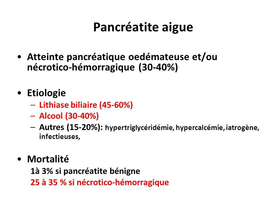 Atteinte pancréatique oedémateuse et/ou nécrotico-hémorragique (30-40%) Etiologie –Lithiase biliaire (45-60%) –Alcool (30-40%) –Autres (15-20%): hyper