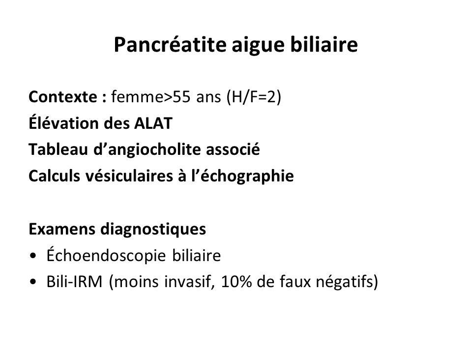 Contexte : femme>55 ans (H/F=2) Élévation des ALAT Tableau d'angiocholite associé Calculs vésiculaires à l'échographie Examens diagnostiques Échoendos