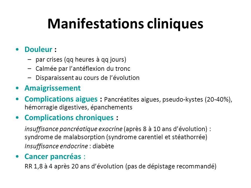 Manifestations cliniques Douleur : –par crises (qq heures à qq jours) –Calmée par l'antéflexion du tronc –Disparaissent au cours de l'évolution Amaigr