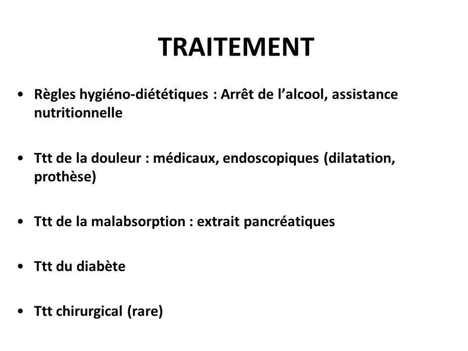 TRAITEMENT Règles hygiéno-diététiques : Arrêt de l'alcool, assistance nutritionnelle Ttt de la douleur : médicaux, endoscopiques (dilatation, prothèse