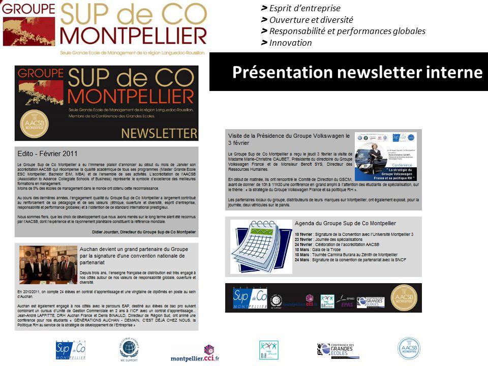 > Esprit d'entreprise > Ouverture et diversité > Responsabilité et performances globales > Innovation Présentation newsletter interne
