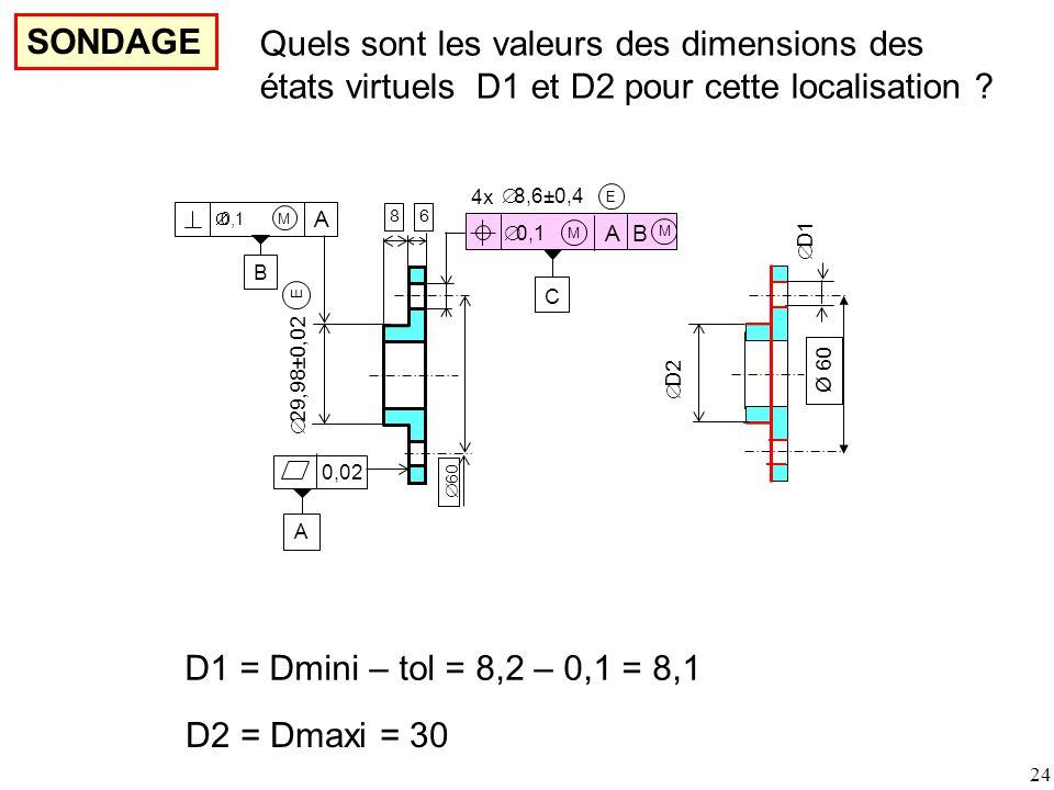24 SONDAGE A 0,02 E  29,98±0,02  0,1 A M B E M 4x A B C  8,6±0,4 M 86  60  D2  D1 Ø 60 Quels sont les valeurs des dimensions des états virtuels D1 et D2 pour cette localisation .