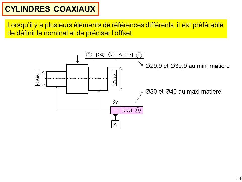 34  M  29,96  39,96 2c CYLINDRES COAXIAUX A A L  50]  L Lorsqu il y a plusieurs éléments de références différents, il est préférable de définir le nominal et de préciser l offset.