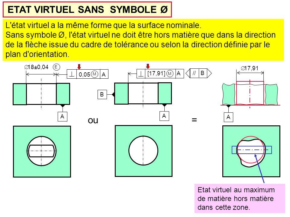ETAT VIRTUEL SANS SYMBOLE Ø A  18±0,04 E 0,05 A M A  17,91 Etat virtuel au maximum de matière hors matière dans cette zone.