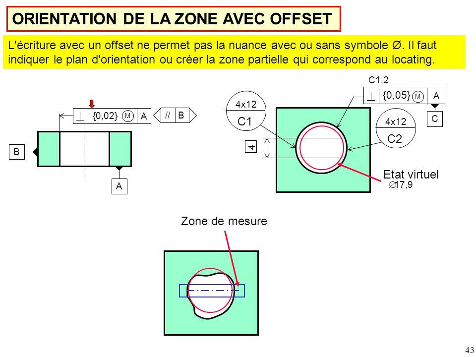 43 ORIENTATION DE LA ZONE AVEC OFFSET L écriture avec un offset ne permet pas la nuance avec ou sans symbole Ø.