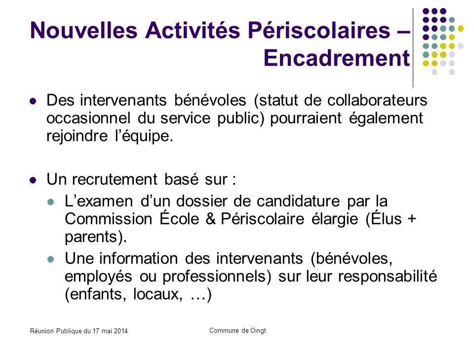 Réunion Publique du 17 mai 2014 Commune de Oingt Nouvelles Activités Périscolaires – Encadrement Des intervenants bénévoles (statut de collaborateurs occasionnel du service public) pourraient également rejoindre l'équipe.