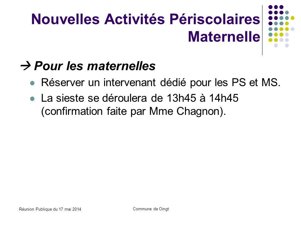 Réunion Publique du 17 mai 2014 Commune de Oingt Nouvelles Activités Périscolaires Maternelle  Pour les maternelles Réserver un intervenant dédié pour les PS et MS.