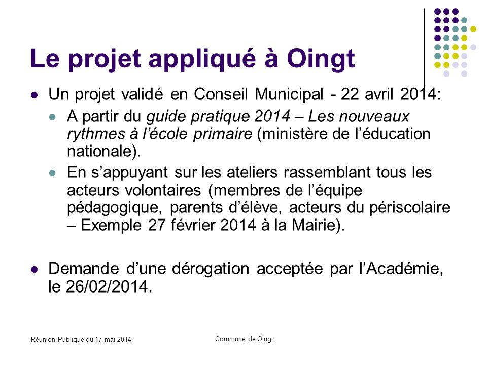 Réunion Publique du 17 mai 2014 Commune de Oingt Rentrée 2014 – Organisation des temps scolaires et périscolaires
