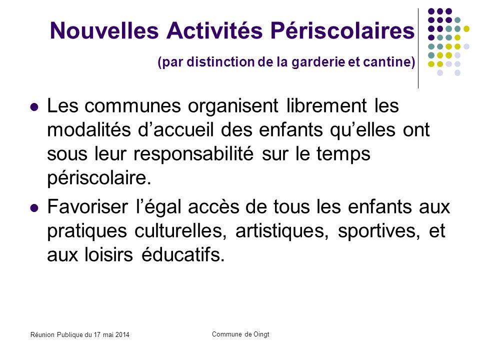 Réunion Publique du 17 mai 2014 Commune de Oingt Nouvelles Activités Périscolaires Contenu Quelles activités .