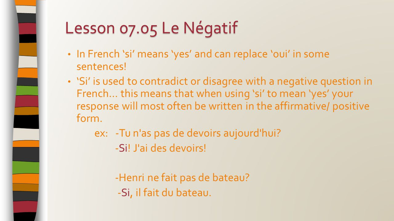 In French 'si' means 'yes' and can replace 'oui' in some sentences.