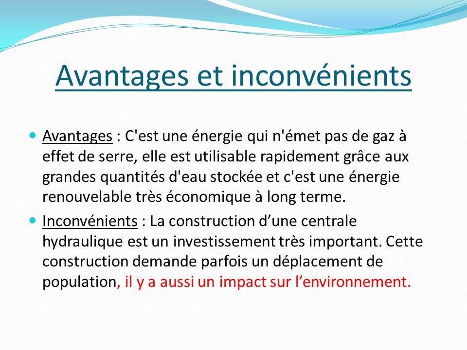 Avantages et inconvénients Avantages : C est une énergie qui n émet pas de gaz à effet de serre, elle est utilisable rapidement grâce aux grandes quantités d eau stockée et c est une énergie renouvelable très économique à long terme.