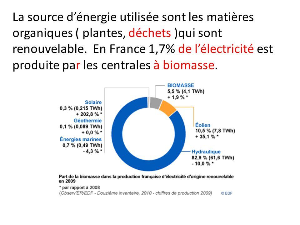 La source d'énergie utilisée sont les matières organiques ( plantes, déchets )qui sont renouvelable.