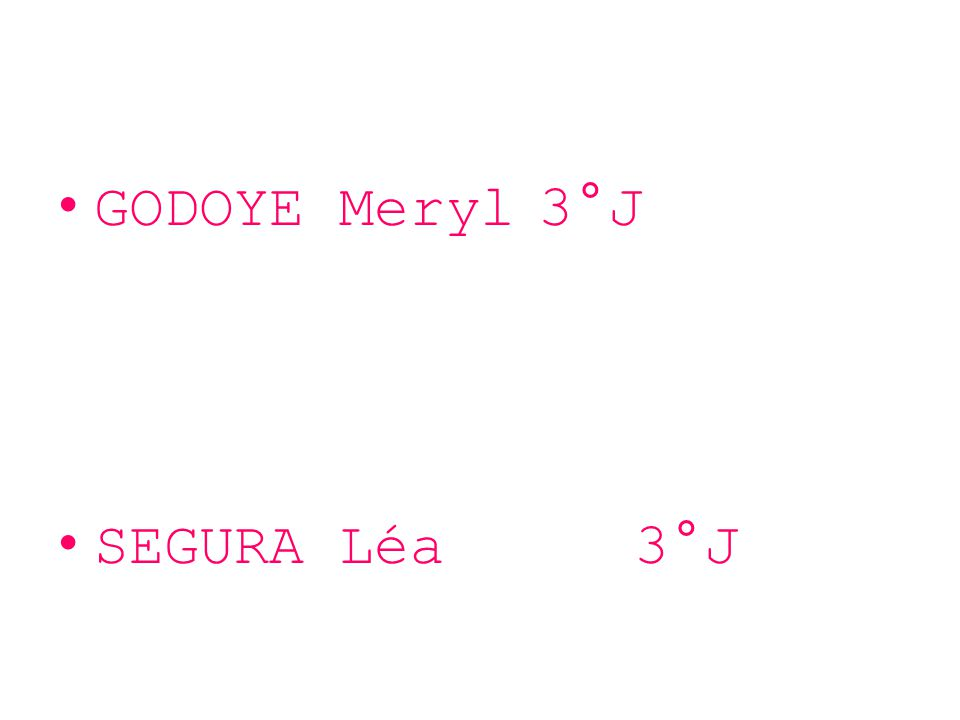 GODOYE Meryl3°J SEGURA Léa 3°J