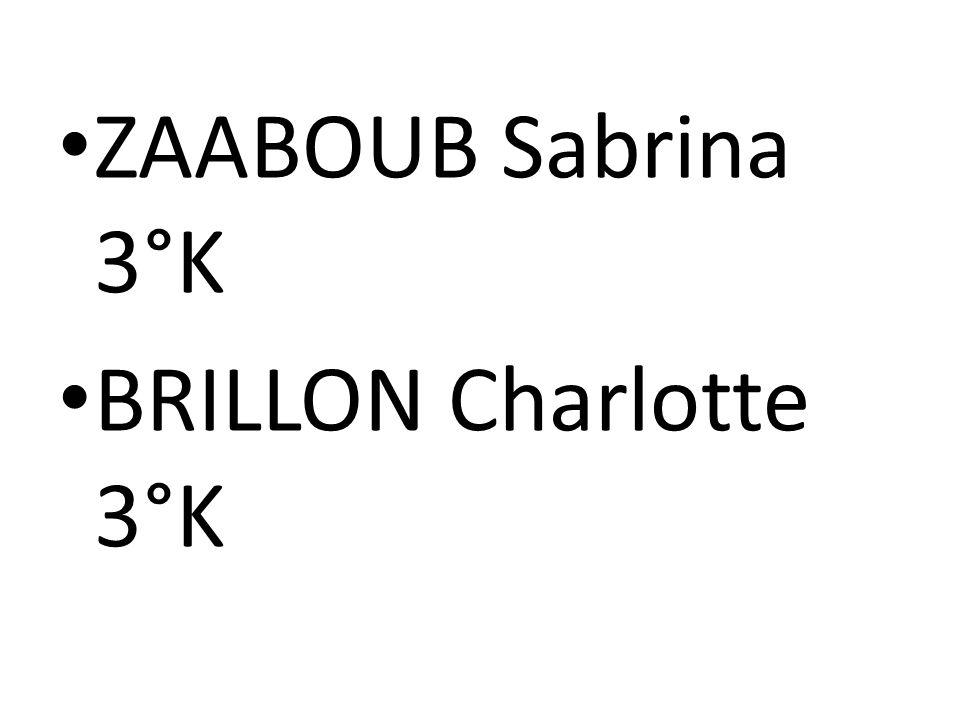 ZAABOUB Sabrina 3°K BRILLON Charlotte 3°K