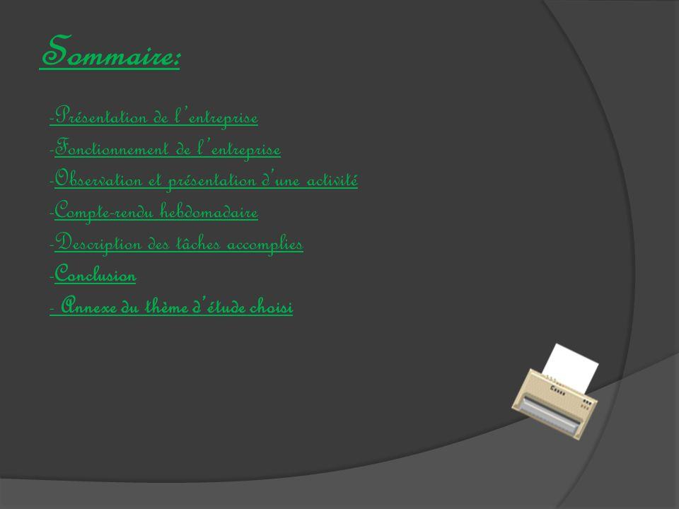 Sommaire: -Présentation de l'entreprise -Fonctionnement de l'entrepriseFonctionnement de l'entreprise -Observation et présentation d'une activitéObservation et présentation d'une activité -Compte-rendu hebdomadaireCompte-rendu hebdomadaire -Description des tâches accompliesDescription des tâches accomplies -ConclusionConclusion - Annexe du thème d'étude choisi