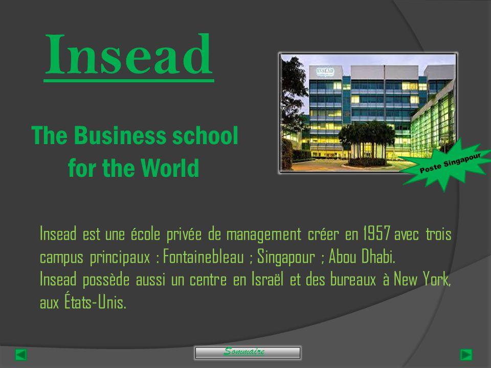 Insead The Business school for the World Insead est une école privée de management créer en 1957 avec trois campus principaux : Fontainebleau ; Singapour ; Abou Dhabi.