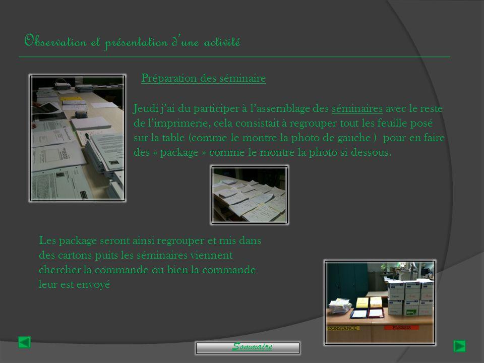 Compte-rendu hebdomadaire LundiMardiMercrediJeudiVendredi Découverte De L'équipe de L'imprimerie Observation d'une réunion du bâtiment.