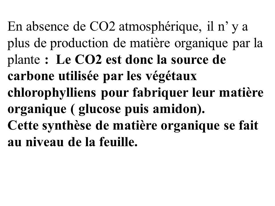 En absence de CO2 atmosphérique, il n' y a plus de production de matière organique par la plante : Le CO2 est donc la source de carbone utilisée par les végétaux chlorophylliens pour fabriquer leur matière organique ( glucose puis amidon).