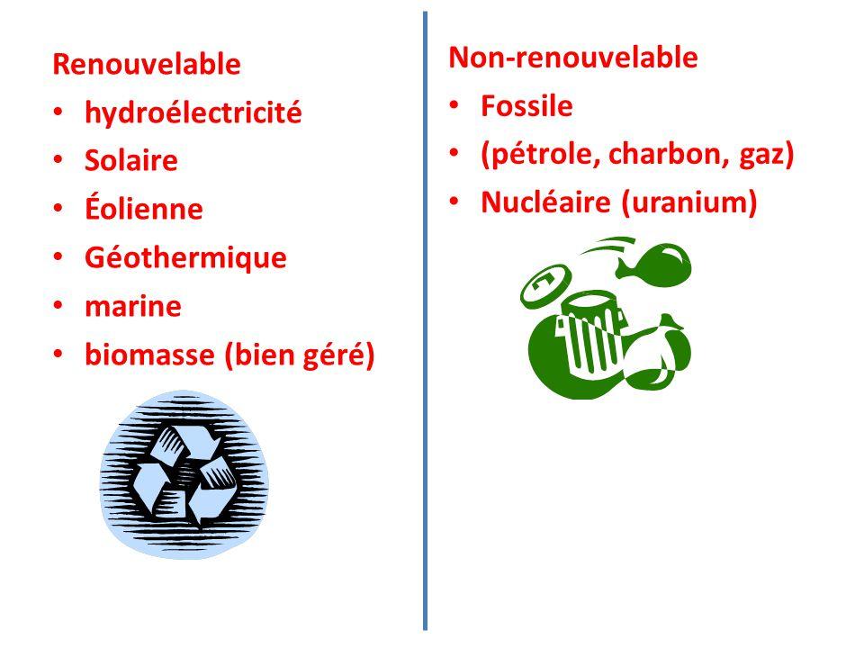 Renouvelable hydroélectricité Solaire Éolienne Géothermique marine biomasse (bien géré) Non-renouvelable Fossile (pétrole, charbon, gaz) Nucléaire (uranium)