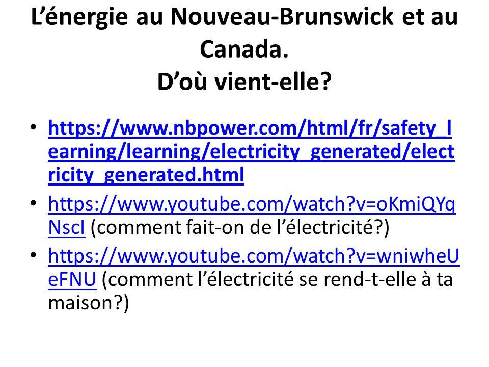 L'énergie au Nouveau-Brunswick et au Canada.D'où vient-elle.