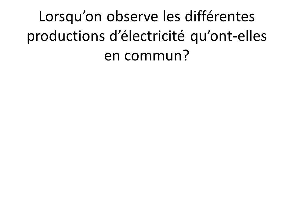 Lorsqu'on observe les différentes productions d'électricité qu'ont-elles en commun?
