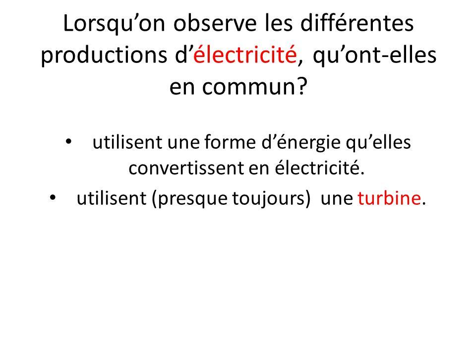 Lorsqu'on observe les différentes productions d'électricité, qu'ont-elles en commun.