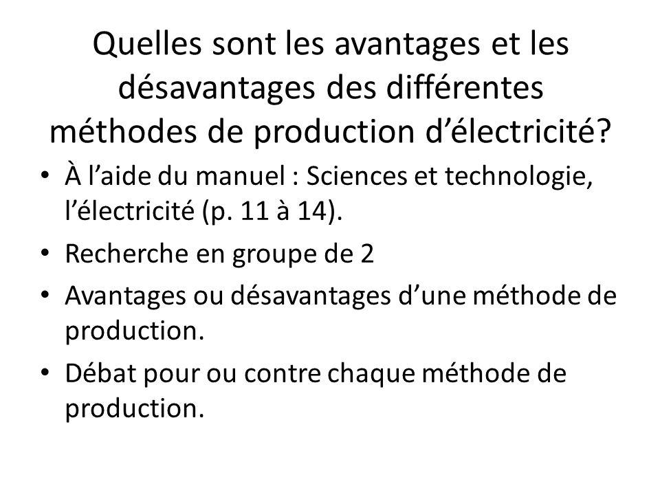Quelles sont les avantages et les désavantages des différentes méthodes de production d'électricité.