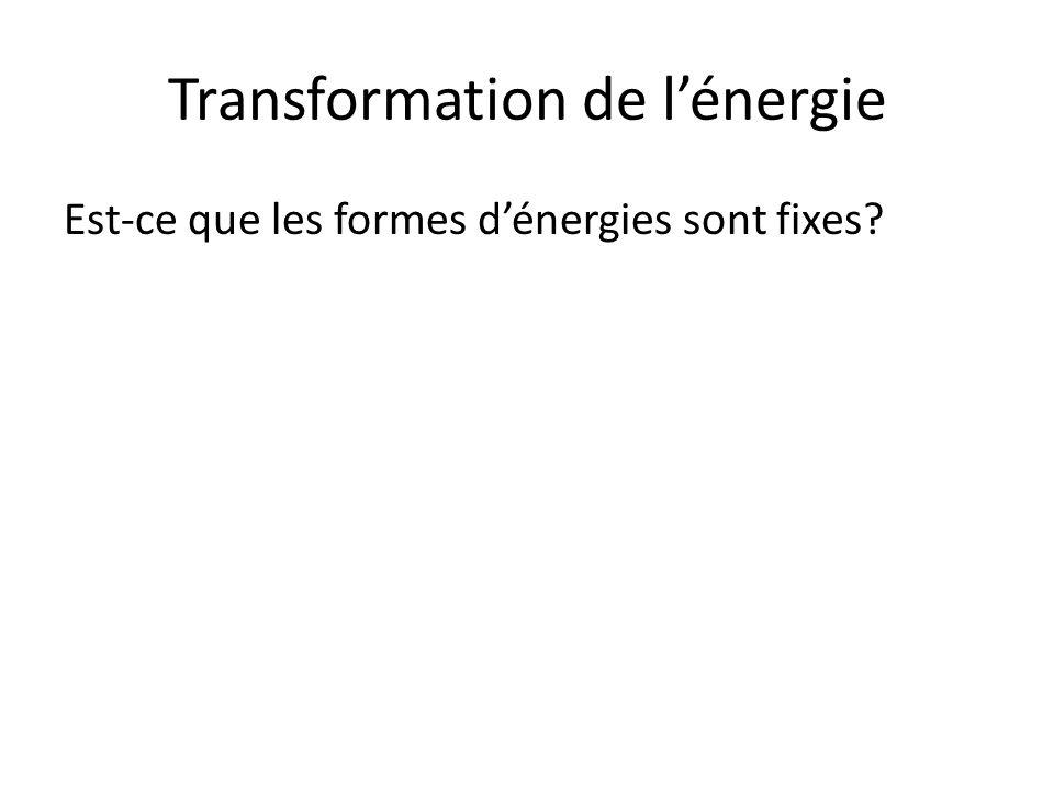 Transformation de l'énergie Est-ce que les formes d'énergies sont fixes?