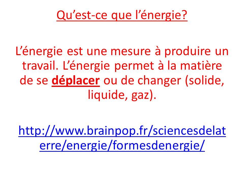 Qu'est-ce que l'énergie.L'énergie est une mesure à produire un travail.
