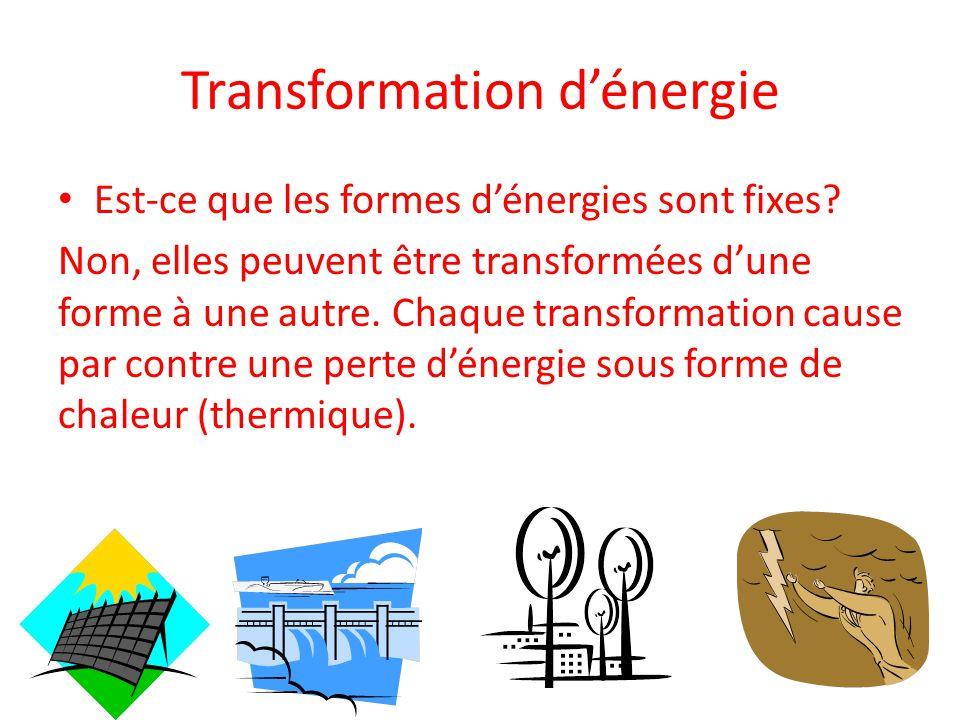 Transformation d'énergie Est-ce que les formes d'énergies sont fixes.