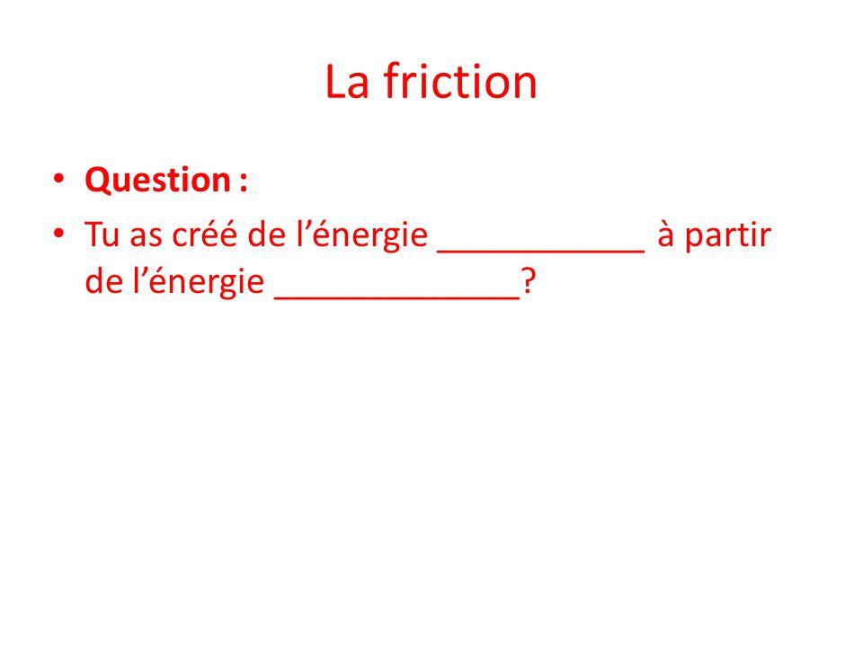 La friction Question : Tu as créé de l'énergie ___________ à partir de l'énergie _____________?