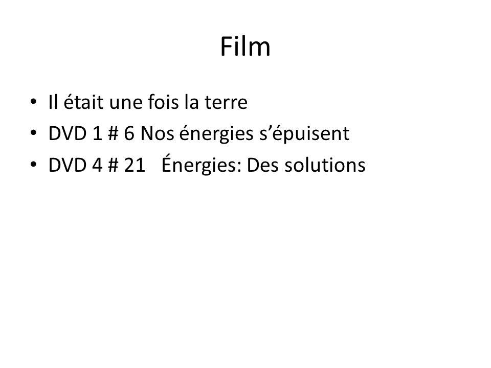 Film Il était une fois la terre DVD 1 # 6 Nos énergies s'épuisent DVD 4 # 21 Énergies: Des solutions