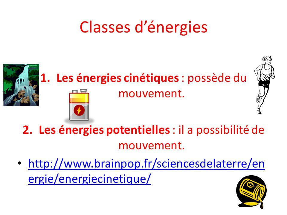 Classes d'énergies 1.Les énergies cinétiques : possède du mouvement.