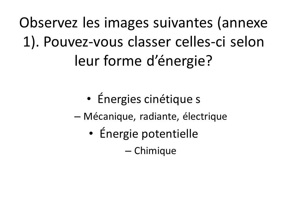 Observez les images suivantes (annexe 1).Pouvez-vous classer celles-ci selon leur forme d'énergie.