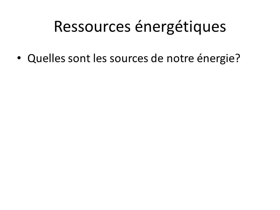 Ressources énergétiques Quelles sont les sources de notre énergie?