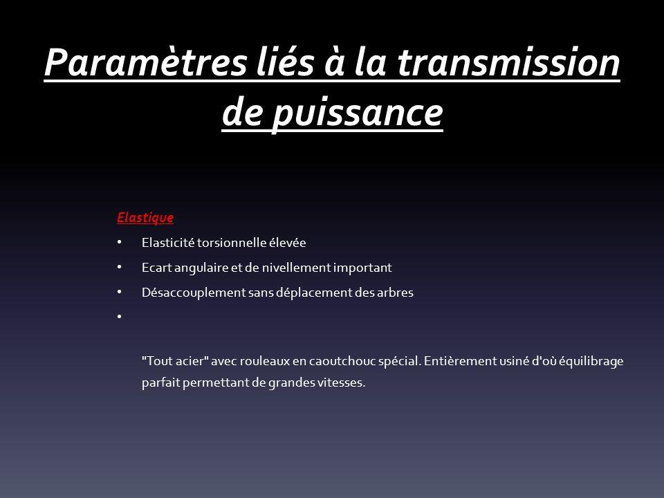 Paramètres liés à la transmission de puissance Elastique Elasticité torsionnelle élevée Ecart angulaire et de nivellement important Désaccouplement sa