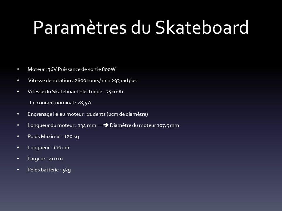 Paramètres du Skateboard Moteur : 36V Puissance de sortie 800W Vitesse de rotation : 2800 tours/ min 293 rad /sec Vitesse du Skateboard Electrique : 2