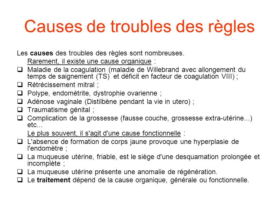 Causes de troubles des règles Les causes des troubles des règles sont nombreuses.