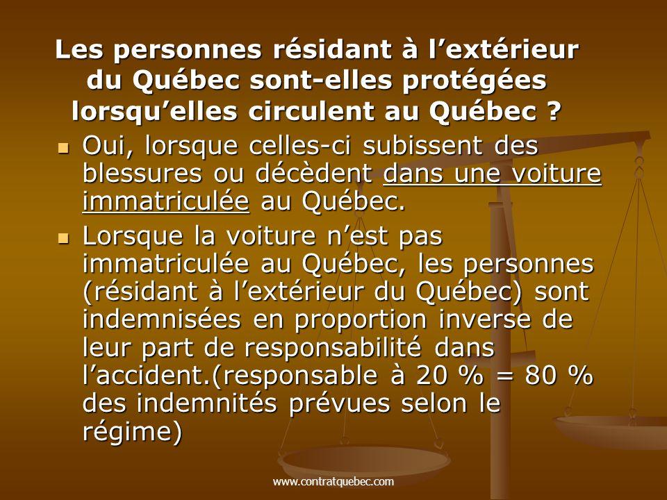www.contratquebec.com Les personnes résidant à l'extérieur du Québec sont-elles protégées lorsqu'elles circulent au Québec .