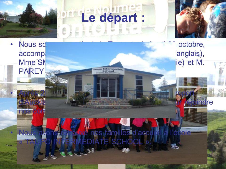 Le départ : Nous sommes partis de la Tontouta, le jeudi 23 octobre, accompagnés de Mme PERAUD (professeur d'anglais), Mme SMAGHE (professeur d'histoire-géographie) et M.