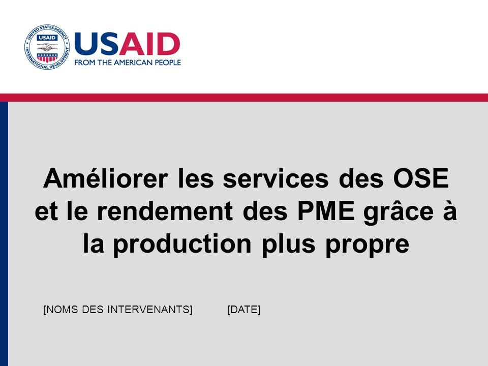 Améliorer les services des OSE et le rendement des PME grâce à la production plus propre [DATE][NOMS DES INTERVENANTS]