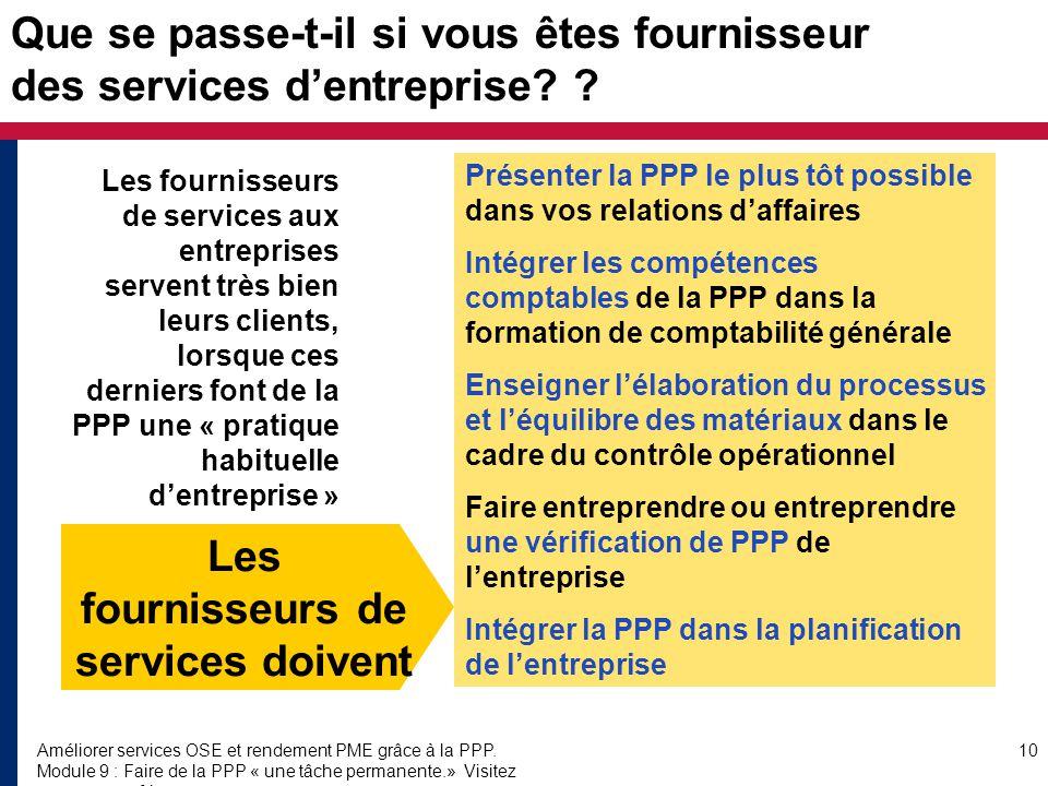 Améliorer services OSE et rendement PME grâce à la PPP.