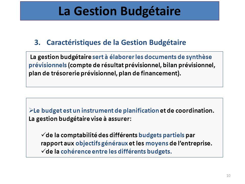 10 3.Caractéristiques de la Gestion Budgétaire La Gestion Budgétaire  Le budget est un instrument de planification et de coordination.