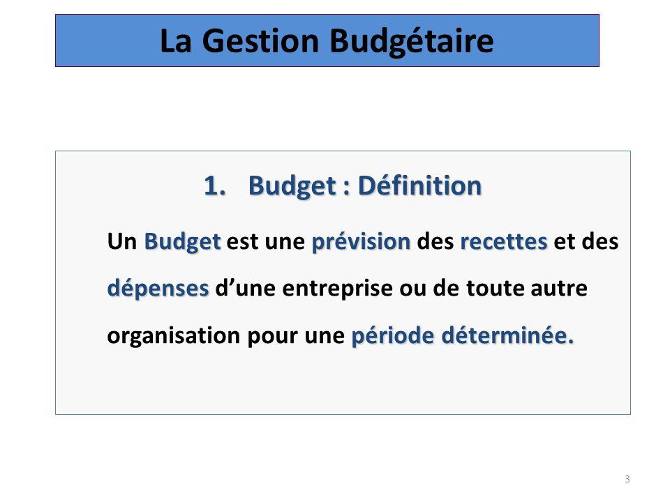 3 1.Budget : Définition Budgetprévision recettes dépenses périodedéterminée.