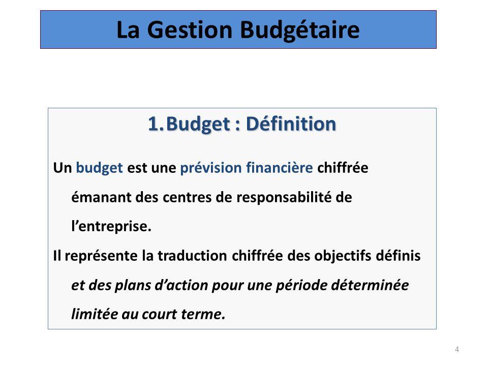 4 1.Budget : Définition Un budget est une prévision financière chiffrée émanant des centres de responsabilité de l'entreprise.